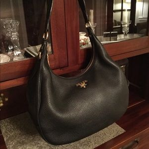 Prada Black Pebbled Leather Hobo